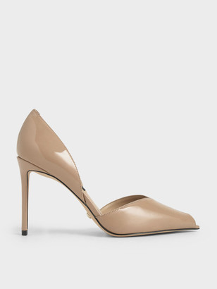 Charles & Keith Leather Peep-Toe D'Orsay Pumps