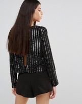 Boohoo Sequin Open Back Top