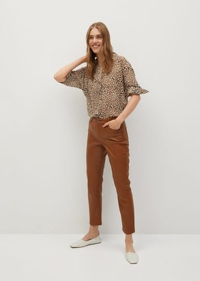 MANGO Printed flowy shirt brown - 2 - Women