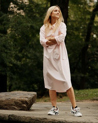 The Drop Women's Pastel Pink Oversized Midi Shirt Dress by @thefashionguitar