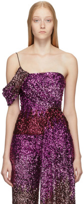 Halpern Pink Degrade Sequin Draped Bustier