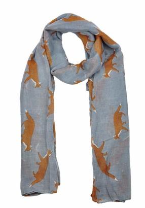 Goldkidlondon Lady Womens Colorful Long Fox Wolf Animal Print Scarf Wraps Shawl Soft Scarves (Grey)