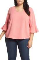 Melissa McCarthy Plus Size Women's Ruffle Sleeve Skimmer Top