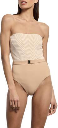 BRIGITTE Amaio Swim Striped Belted Maillot One-Piece Swimsuit