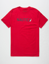 Nautica Sailboat Script Mens T-Shirt