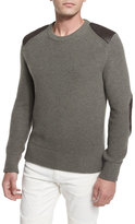Belstaff Parry Leather-Trim Ribbed Wool Sweater