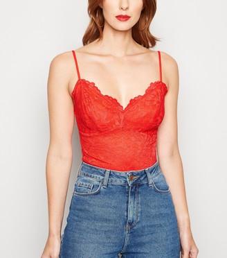 New Look Floral Lace Bustier Bodysuit