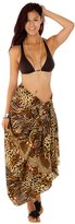 1 World Sarongs Womens Feline Print Swimsuit Cover-Up Sarong in
