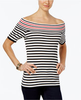NY Collection Petite Striped Off-The-Shoulder Sweater