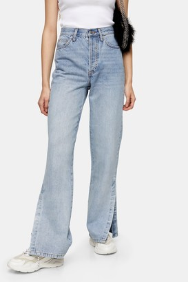 Topshop Womens Bleach Split Kort Parallel Jeans - Bleach Stone