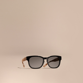 Burberry Check and Camouflage Detail Square Frame Sunglasses
