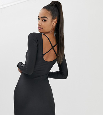 Collusion COLLUSION bodycon dress with low back-Black