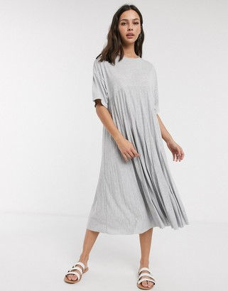 ASOS DESIGN pleated smock midi dress with short sleeves in gray marl