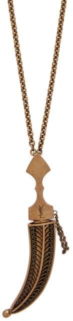 Saint Laurent Embossed Dagger Pendant - Womens - Gold