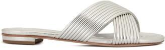 Schutz metallic cross-over sandals
