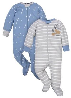 N. Wonder Nation Baby Boy Pajamas Zip Up Sleep 'N Play Sleepers, 2-Pack