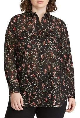 Lauren Ralph Lauren Plus Straight-Fit Voile Button-Down Shirt