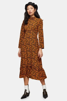 Topshop Womens Petite Multicoloured Floral Print Midi Dress - Multi