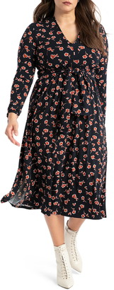 ELOQUII Floral Print Tie Detail Long Sleeve Dress