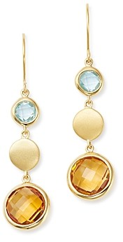 Bloomingdale's Citrine & Blue Topaz Round Drop Earrings in 14K Yellow Gold - 100% Exclusive