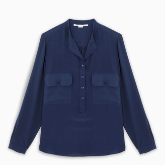 Stella McCartney Blue draped collarless blouse