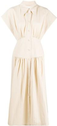 Low Classic Shirring Waist Shirt Dress