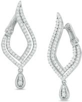 Zales 1 CT. T.W. Diamond Flame Drop Earrings in 10K White Gold