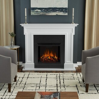 Real Flame Thayer White Electric Fireplace - 54.38L x 13W x 44.88H