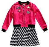 Sweet Heart Rose Sweetheart Rose Girl's Two-Piece Bomber Jacket & Knit Dress