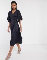 Liquorish satin wrap front midi dress with flutter sleeves in navy