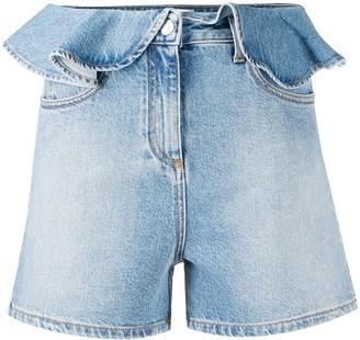 MSGM Ruffled-Waist Denim Shorts