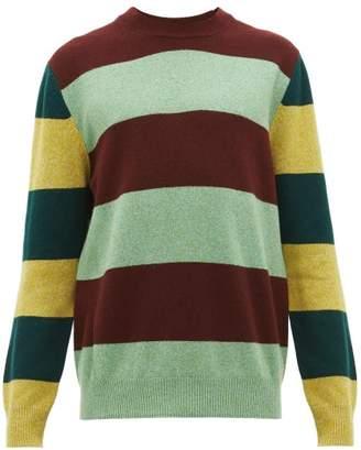 Paul Smith Contrast-stripe Lambswool Sweater - Mens - Green Multi