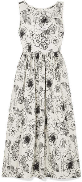 Co Embroidered Cotton-poplin Midi Dress - Ivory