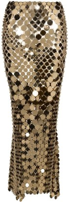 Paco Rabanne Sequined Light Gold Maxi Skirt