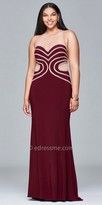 Faviana Illusion Rhinestone Encrusted Jersey Plus Size Evening Dress