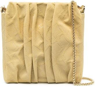 Elleme Ruched Snakeskin Leather Tote Bag