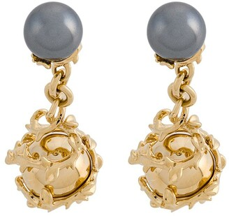Kasun London Orb and pearl cufflinks