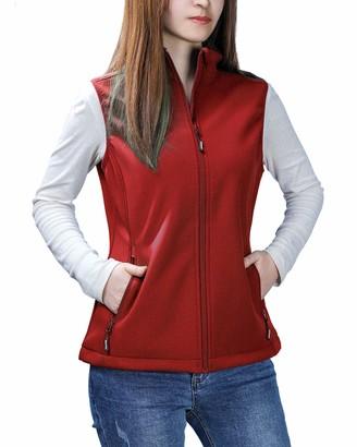Outdoor Ventures Womens Mia Lightweight Sleeveless Fall Windproof Soft Bonded Fleece Softshell Zip Vest Red