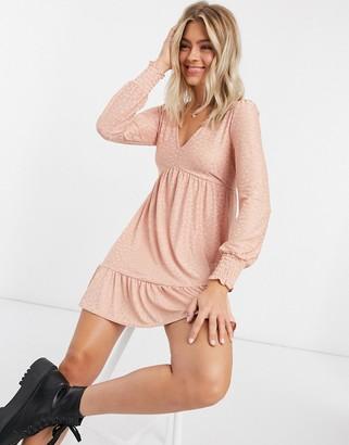 Miss Selfridge knitted spot print mini dress in light pink