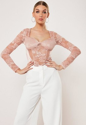 Missguided Nude Cupped Lace Satin Insert Bodysuit