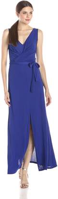 BCBGMAXAZRIA Azria Women's Mae Maxi Dress with Front and Back V-Neck