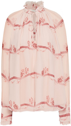 Jonathan Simkhai Gathered Printed Silk-crepon Blouse