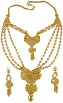 Matra Ethnic Traditional 18K Gold Plated Necklace Earring Set Women Designer Jewelry