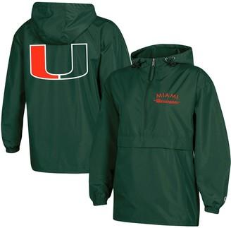 Champion Women's Green Miami Hurricanes Packable Half-Zip Light Rain Jacket