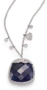 Meira T Sapphire, Diamond& 14K White Gold Pendant Necklace