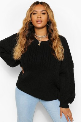 boohoo Plus Soft Knit Cable Jumper