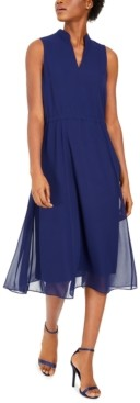 Anne Klein Plus Size Drawstring Midi Dress