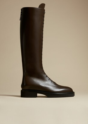KHAITE The York Boot in Dark Brown Leather