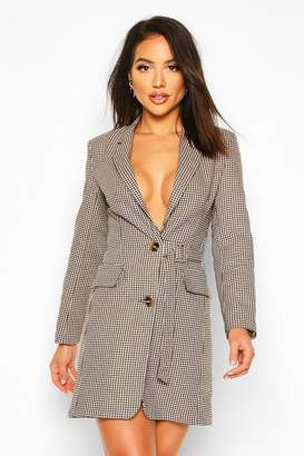 boohoo Jaquard Check Buckle Blazer Dress
