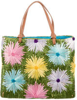 Kate Spade Floral Straw & Wicker Tote